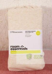 Room Essentials King Tan Heather Jersey Pillowcases Set