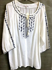 French Laundry - 3X -White Cotton Peasant Tunic Top Blouse Embroider 3/4 Sleeve