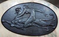 Antique Panneau en plâtre Art Nouveau Julien Dillens Fortuna (1849-1904) signeé
