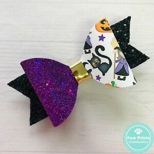 """Purple Glitter Halloween Witches & Black Cats Hair Bow -  3.5"""" Hair Clip"""