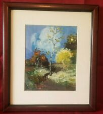 "Hand Painted Landscape With Wooden Frame 14""x16"""