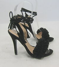 "new ladies Black 4.5""Stiletto Heel Open Toe Tie Up Sexy Shoes Size 9"