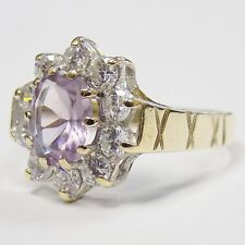9ct Solid Yellow Gold Natural Amethyst & CZ Cluster Ring Size Q 3.7g