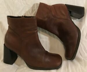 Faith Brown Ankle Leather Lovely Boots Size 4 (527Q)