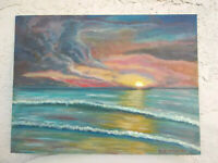 Original Acrylic Painting12 x16 Sunset  Canvas Panel, Beach, Coastal Art