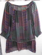 MADISON PAIGE II~2X~PULLOVER~SHEER~ROUND NECK BLOUSE~MULTI COLOR~POLYESTER