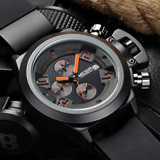 Megir Reloj De Pulsera Relojes Lujo Negro Cronógrafo Fecha Hombres Militar Watch