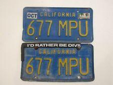 Vintage Blue/Gold DMV Clear California License Plates 677MPU Set Pair Embossed