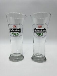 Vintage Heineken Lager Beer Logo Pilsner Glasses - Lot of 2