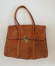 Patricia Nash Women's Floral Vienna Tooled Leather Satchel Should Bag Purse Tan