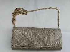 ROLAND CARTIER Gold Glitter Clutch Bag Evening Handbag Chain Strap