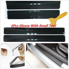 4x Carbon Fiber Glossy Front Rear Car Scuff Plate Door Sill Cover Protector 5D