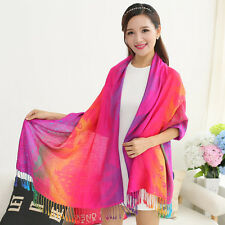 Fashion Women Flower Warm Cotton Shawl Wrap Stole Cashmere Scarf Scarves New