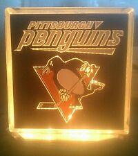 Lighted Pittsburgh Penguins Glass Block Light~ Home Decor~Gift~Lamp