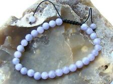 Natural Gemstone Macrame Beaded Bracelet Aquamarine 6mm beads March Birthstone