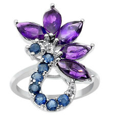 GENUINE AMETHYST / SAPPHIRE FLORAL COCKTAIL RING IN 925 STERLING SILVER 7