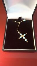 9k 9ct yellow gold Turquoise Cross pendant on chain