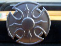 """Shield Cross Gray Metal Belt Buckle 3.5"""""""