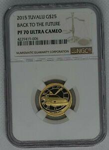 015 Tuvalu Back to the Future DeLorean $25 Gold 1/4oz .999 NGC PF70 Ultra Cameo