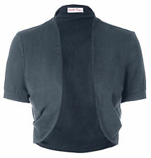 Neu Damen Kurzarm Pleated Sides Baumwolle Shrug Bolero Short Sleeve Ladies Tops