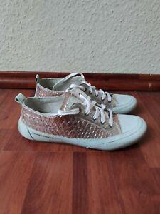 Damen Sneaker 37 Candice Cooper Rosé Crème Leder Krokoprägung low top metallic