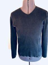Designer Emporio Armani Men's V Neck Zipper Navy Blue Sweater Size: 50