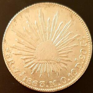 1863 8 REALES MEXICO Zacatecas M.O. FIRTS REPUBLIC KM# 377.13 SILVER Nice!
