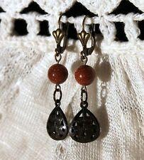 Beautiful Copper Colored Goldstone Aventurine Glass Bead Dangle Earrings Brass