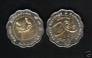 SINGAPORE 5 DOLLARS 2000 NEW MILLENNIUM BI METAL UNC COMMEMORATIVE MONEY COIN