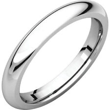 3mm Solid Platinum Plain Dome Half Round Comfort Fit Wedding Band Ring All Sizes