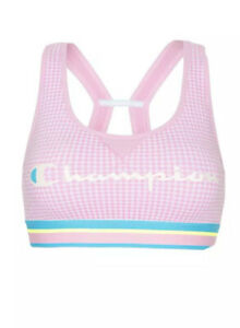 Champion Womens The Authentic Sports Bra, XL Gingham/Ice Cake NEW