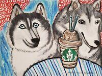 Siberian Husky at Starbarks Paper Original 9x12 Pastel Painting Dog Art by KSams