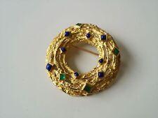 BEAUTIFUL ONE OF A KIND 18K YELLOW GOLD, EMERALD & LAPIZ PIN BROOCH, HEAVY