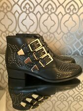 Office, Leather Western Ankle Boots, Gold Hardware, Size EU 40/UK 7
