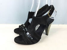 J Crew 8 Black Suede Leather Cage Strappy Braided High Heel Sandals Career Party