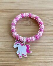 UNICORN PINKS Handmade Glass Pearl Stretchy Bracelet & Unicorn Charm