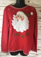 Santa Claus Ugly Christmas Women's Medium Sweater Red Ho Ho Ho 8-10 SHIPS FREE