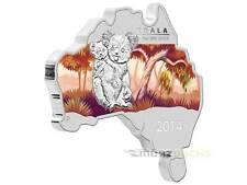 1 $ dollars Koala Australian Map Shaped Australie 2014 1 OZ ONCE Argent