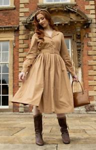 Lindy Bop 'Shannon' Western / Cottagecore Cotton Midi Shirt Dress BNWT Size 20