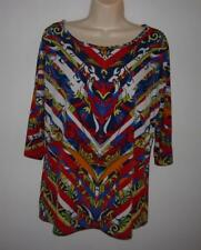 MULTIPLES Red Blue Dolman Sleeve Knit Top Shirt Size M Stripe Abstract