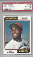 1974 Topps baseball card #304 Don Wilson, Houston Astros graded PSA 8