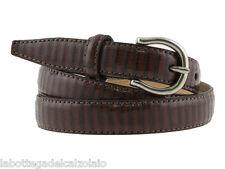 Cintura donna lucertola marrone cinturino artigianale 2cm altezza