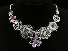 only 1 lilac crystal purple pink enamel carve flower necklace party wedding S64