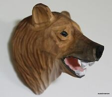Quality Hand Carved & Painted Brown Bear Wall Decoration Sconse Decorator Cabin