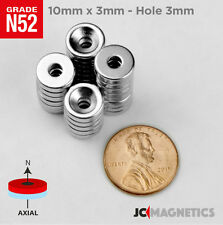 10mm X 3mm 38x18 Hole 3mm N52 Strong Countersunk Ring Rare Earth Magnets