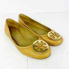 Tory Burch Sz 8.5 Camel Brown Leather Slip On Ballet Flats Shoes Gold Medallion
