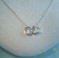 Sterling Silver Open Moon & Star Pendant on Sterling Silver Trace Chain Necklace