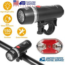 Waterproof 5 LED Lamp Bike Bicycle Front Head Light +Back Rear Safety Flashlight