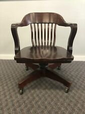 Vintage WOOD OFFICE CHAIR Swivel arm banker desk courthouse lawyer antique arm 4