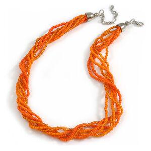 Multistrand Twisted Glass Bead Necklace/ Orange - 45cm L/ 7cm Ext